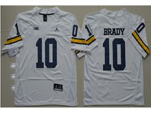 Mens Ncaa Nfl Jordan Brand Michigan Wolverines #10 Tom Brady White Limited Jersey