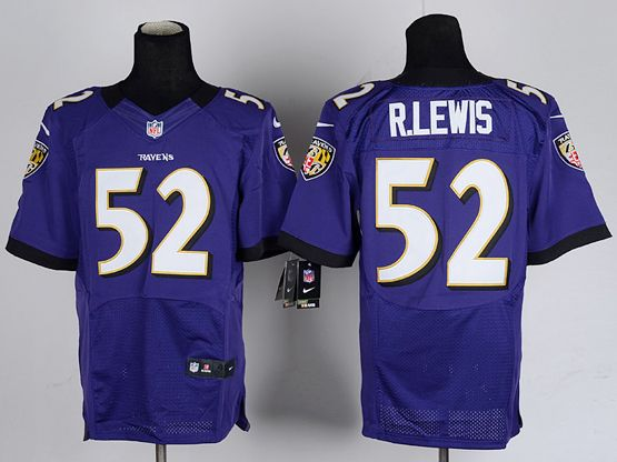 Mens Nfl Baltimore Ravens #52 R.lewis Purple Elite Jersey