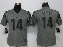 Women   Cincinnati Bengals #14 Andy Dalton Gray Stitched Gridiron Limited Jersey