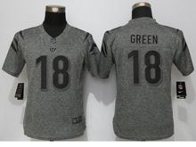 Women   Cincinnati Bengals #18 A.j.green Gray Stitched Gridiron Limited Jersey