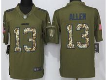 Mens   San Diego Chargers #13 Keenan Allen Green Salute To Service Limited Jersey