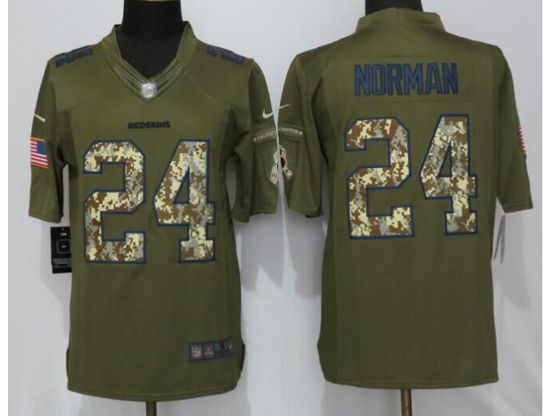 Mens   Washington Redskins #24 Josh Norman Green Salute To Service Limited Jersey