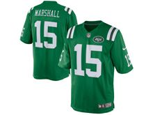 Mens   New York Jets #15 Brandon Marshall Green Color Rush Limited Jersey