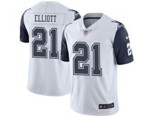 Mens Nike Dallas Cowboys #21 Ezekiel Elliott White Color Rush Limited Jersey