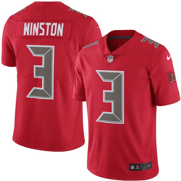 Mens   Tampa Bay Buccaneers #3 Jameis Winston Red Color Rush Limited Jersey