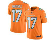 Mens   Miami Dolphins #17 Ryan Tannehill Orange Color Rush Limited Jersey