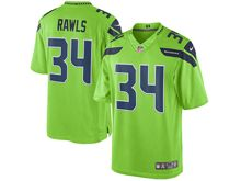 Mens Nike Seattle Seahawks #34 Thomas Rawls Green Color Rush Limited Jersey