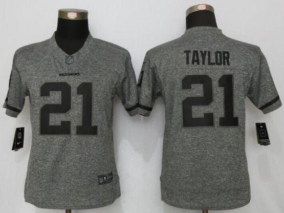 Women   Washington Redskins #21 Sean Taylor Gray Stitched Gridiron Limited Jersey
