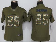 Women Nfl Seattle Seahawks #25 Richard Sherman Green Salute To Service Limited Jersey