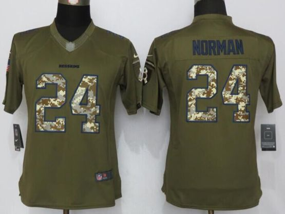 Women   Washington Redskins #24 Josh Norman Green Salute To Service Limited Jersey
