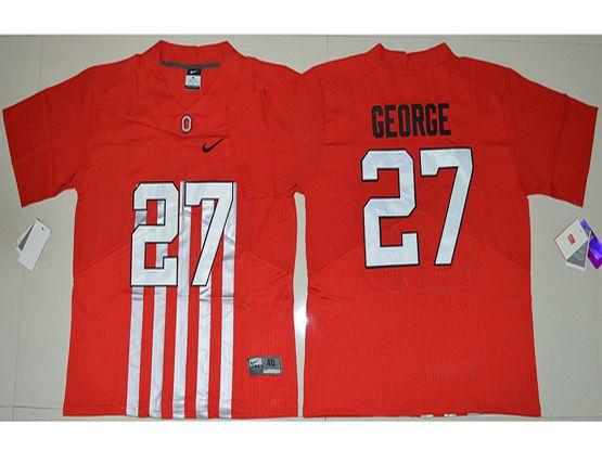 Mens Ncaa Nfl Ohio State Buckeyes #27 Eddie George Red Alternate Elite Jersey