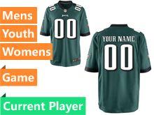Mens Women Youth Philadelphia Eagles Green Game Jersey