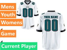 Mens Women Youth Philadelphia Eagles White Game Jersey
