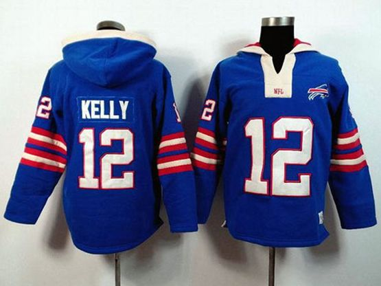 Mens Nfl Buffalo Bills #12 Jim Kelly Blue (2015 Team) Hoodie Jersey
