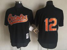 Mens Mlb Baltimore Orioles #12 Dariel Alvarez Black Throwbacks Jersey