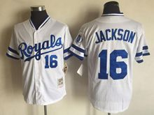 Mens Mlb Kansas City Royals #16 Bo Jackson White Throwbacks Jersey