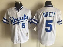 Mens Mlb Kansas City Royals #5 George Brett White Throwbacks Jersey
