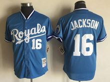 Mens Mlb Kansas City Royals #16 Bo Jackson Blue Throwbacks Jersey