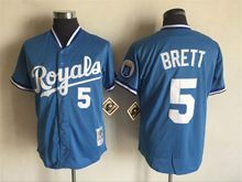 Mens Mlb Kansas City Royals #5 George Brett Blue Throwbacks Jersey