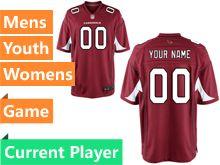 Mens Women Youth   Arizona Cardinals Red Game Jersey
