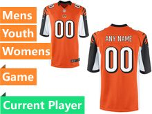 Mens Women Youth   Cincinnati Bengals Orange Game Jersey