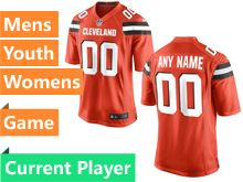 Mens Women Youth Cleveland Browns Orange Game Jersey