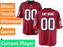 Mens Women Youth Houston Texans Red Game Jersey