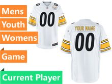 Mens Women Youth Pittsburgh Steelers White Game Jersey