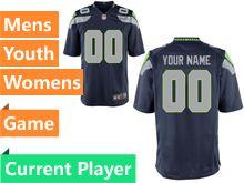 Mens Women Youth Seattle Seahawks Blue Game Jersey