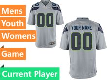 Mens Women Youth Seattle Seahawks Gray Game Jersey
