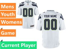 Mens Women Youth Seattle Seahawks White Game Jersey