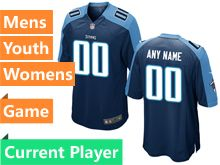 Nfl Tennessee Titans Navy Blue Game Jersey