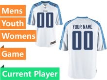 Mens Women Youth Tennessee Titans White Game Jersey