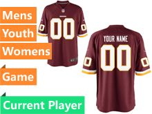 Nfl Washington Redskins Red Game Jersey
