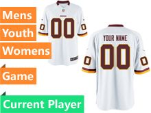 Mens Women Youth Washington Redskins White Game Jersey