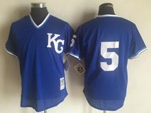 Mens Mlb Kansas City Royals #5 George Brett (kc No Name) Blue Jersey