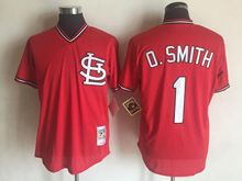 Mens Mlb St.louis Cardinals #1 Ozzie Smith Red Throwbacks Jersey