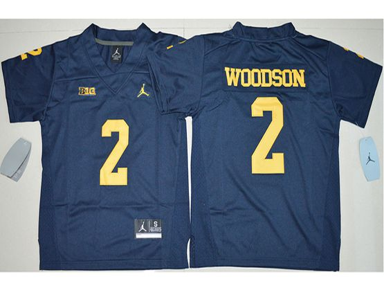 Youth Ncaa Nfl Michigan Wolverines #2 Charles Woodson Navy Blue Limited Jersey