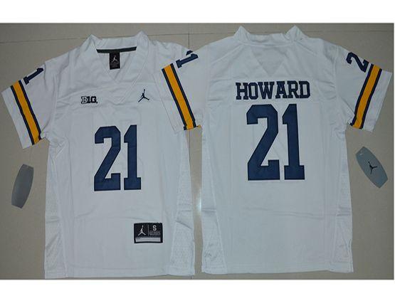 Youth Ncaa Nfl Jordan Brand Michigan Wolverines #21 Desmond Howard White Limited Jersey