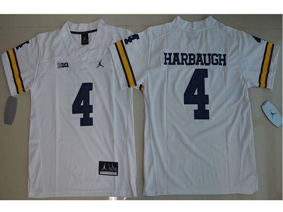 Youth Ncaa Nfl Jordan Brand Michigan Wolverines #4 Jim Harbaugh White Limited Jersey
