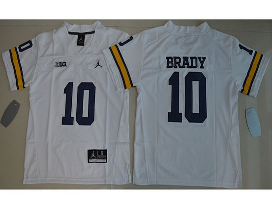 Youth Ncaa Nfl Jordan Brand Michigan Wolverines #10 Tom Brady White Limited Jersey