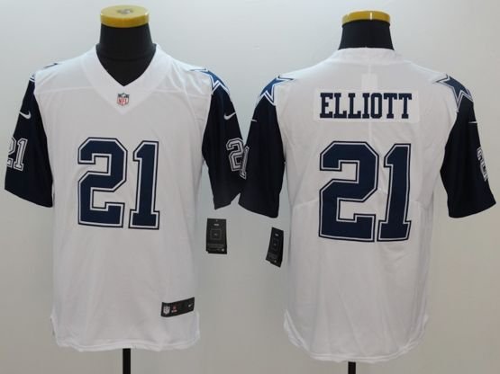 Mens   Dallas Cowboys #21 Ezekiel Elliott White Color Rush Limited Jersey