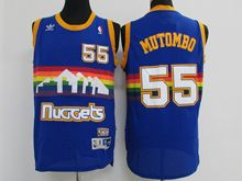 Mens Nba Denver Nuggets #55 Dikembe Mutombo Blue Throwback Jersey