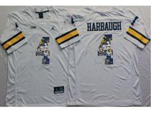 Mens Ncaa Nfl Michigan Wolverines #4 Jim Harbaugh White Fashion Version Jersey