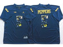 Mens Ncaa Nfl Michigan Wolverines #5 Jabrill Peppers Blue Fashion Version Jersey