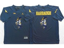 Mens Ncaa Nfl Michigan Wolverines #4 Jim Harbaugh Blue Fashion Version Jersey