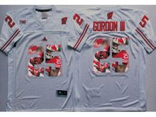 Mens Ncaa Nfl Wisconsin Badgers #25 Melvin Gordon Iii White Fashion Version Jersey