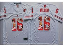 Mens Ncaa Nfl Wisconsin Badgers #16 Russell Wilson White Fashion Version Jersey