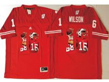 Mens Ncaa Nfl Wisconsin Badgers #16 Russell Wilson Red Fashion Version Jersey