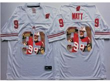 Mens Ncaa Nfl Wisconsin Badgers #99 J.j Watt White Fashion Version Jersey